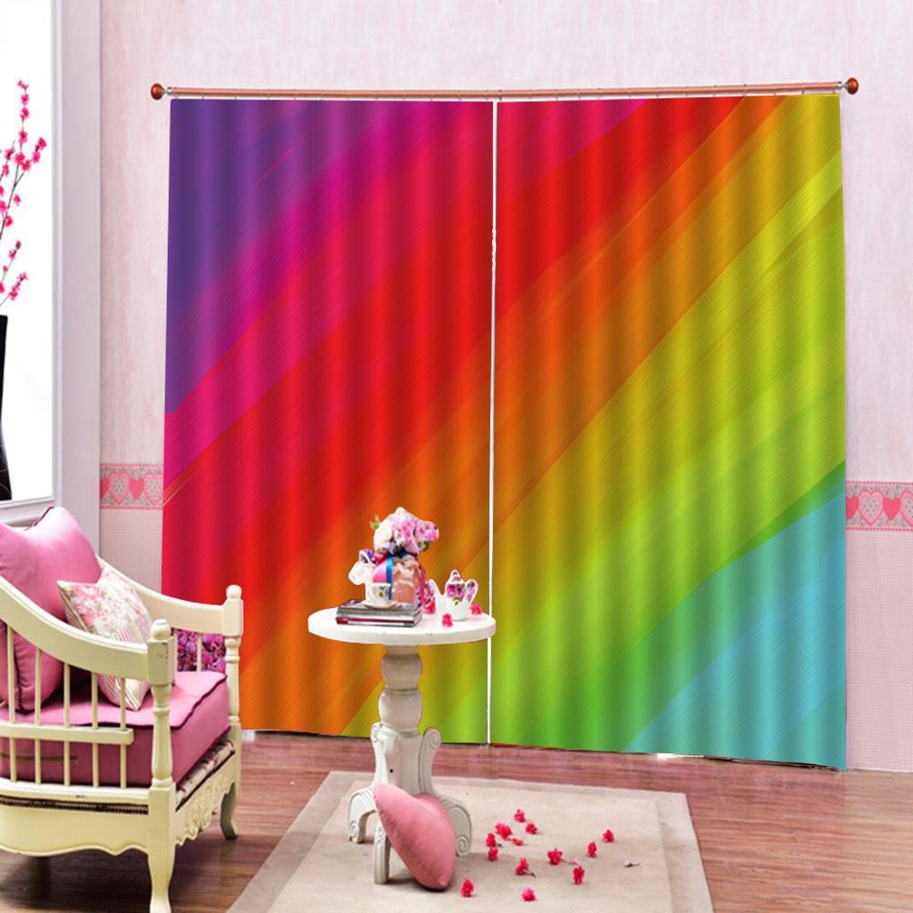 High quality custom 3d curtain fabric  rainbow curtains 3D Window Curtain color print Luxury Blackout For Living Room