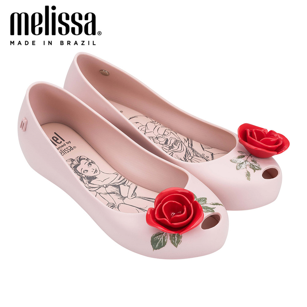 Melissa Women Jelly Shoes  Beauty Beast Red Rose Flowers 2020 Melissa Shoes For Women Flat Sandals Adult Sandals Female Shoes