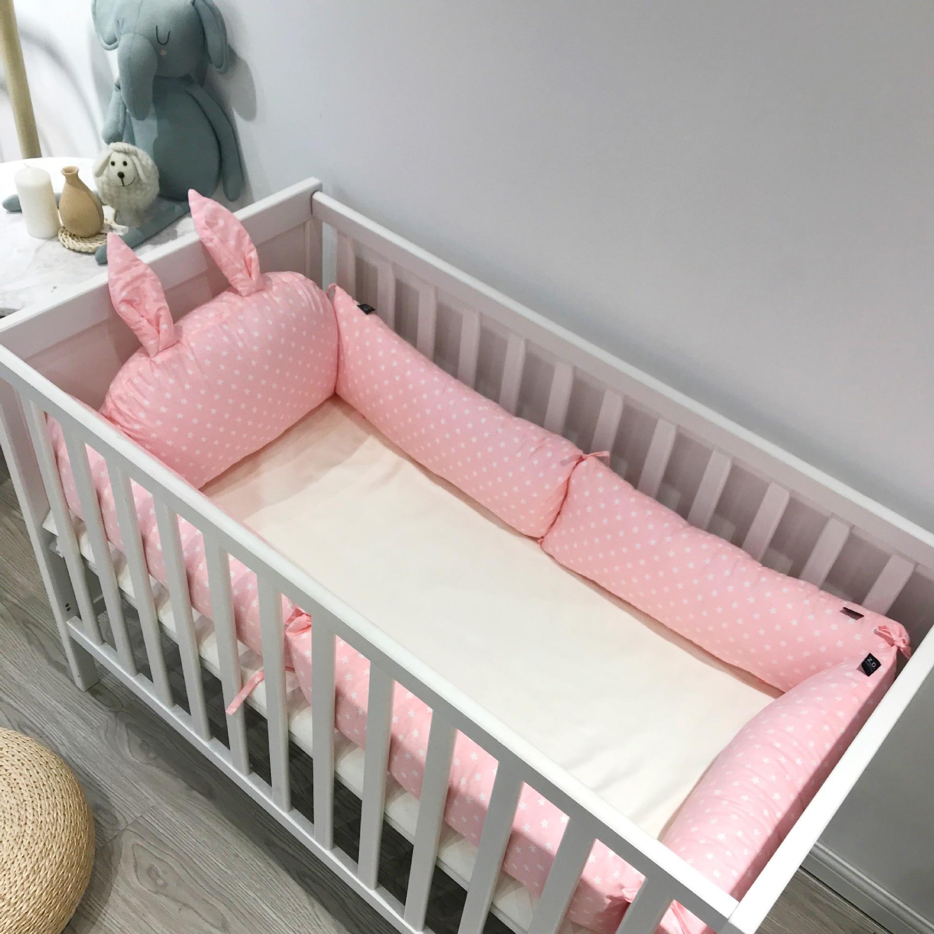 Детский бампер для кроватки с заячьими ушками, Комплект постельного белья для новорожденных, детская кроватка, бампер для детской комнаты,