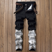 купить 2019 Black White Jean Male Trousers Arrival Jeans For Men Straight Ripped Jeans Zipper Fly Denim Jean Fashion Designer Pants дешево