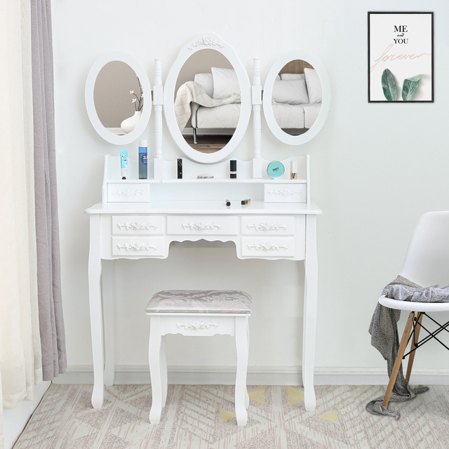 FCH Tri-fold Mirror Nordic 7 Drawer Dressing Table bedroom Simple Economy 1