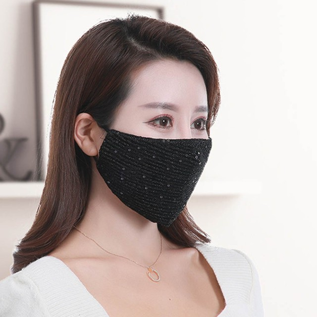 #H20 Sequin mask Cotton Keep Warm anti-haze Masks Shining Party unisex Breathable Mouth Respirator Washable Face Cover Masks 4