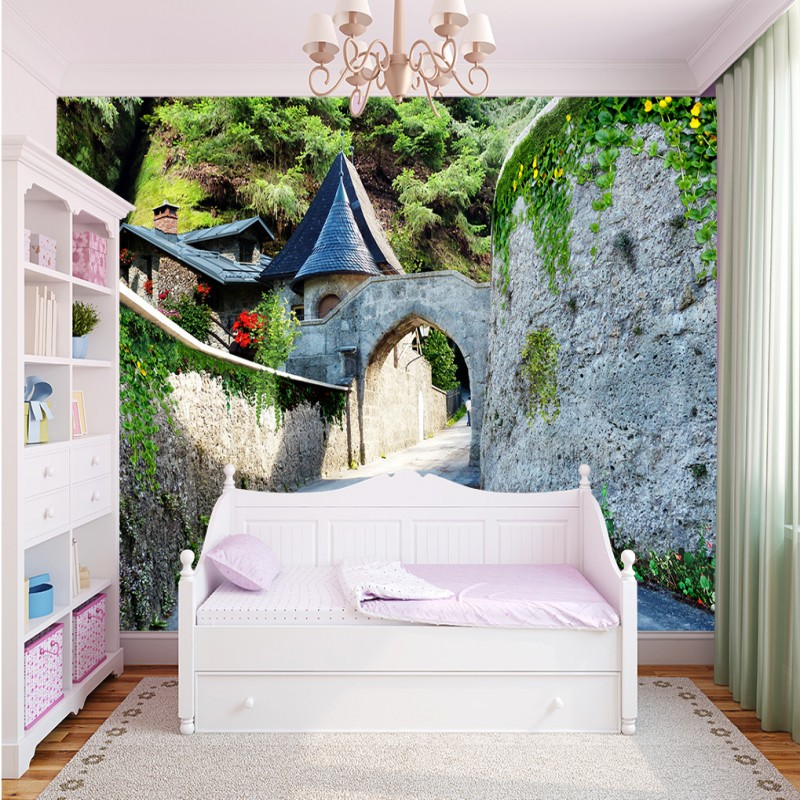 Drop Shipping Custom Photo Wallpaper European Style Beautiful Castle Gate Landscape Wallpaper  Hotel Custom Mural Wallpaper