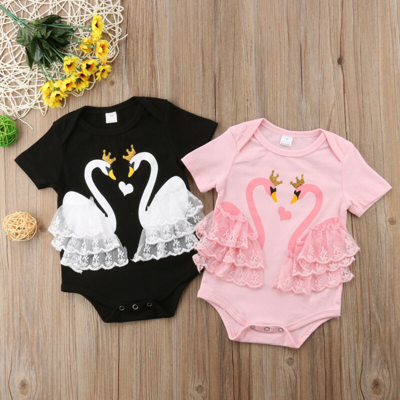 Newborn Infant Baby Girl Swan Short Sleeve Lace Patchwork Lovley Bodysuit Jumpsuit Outfits Sunsuit Clothes