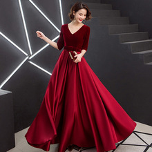 Evening-Dresses Velour Satin Graduation Formal Bow V-Neck A-Line Party-Gowns Bow-Waist