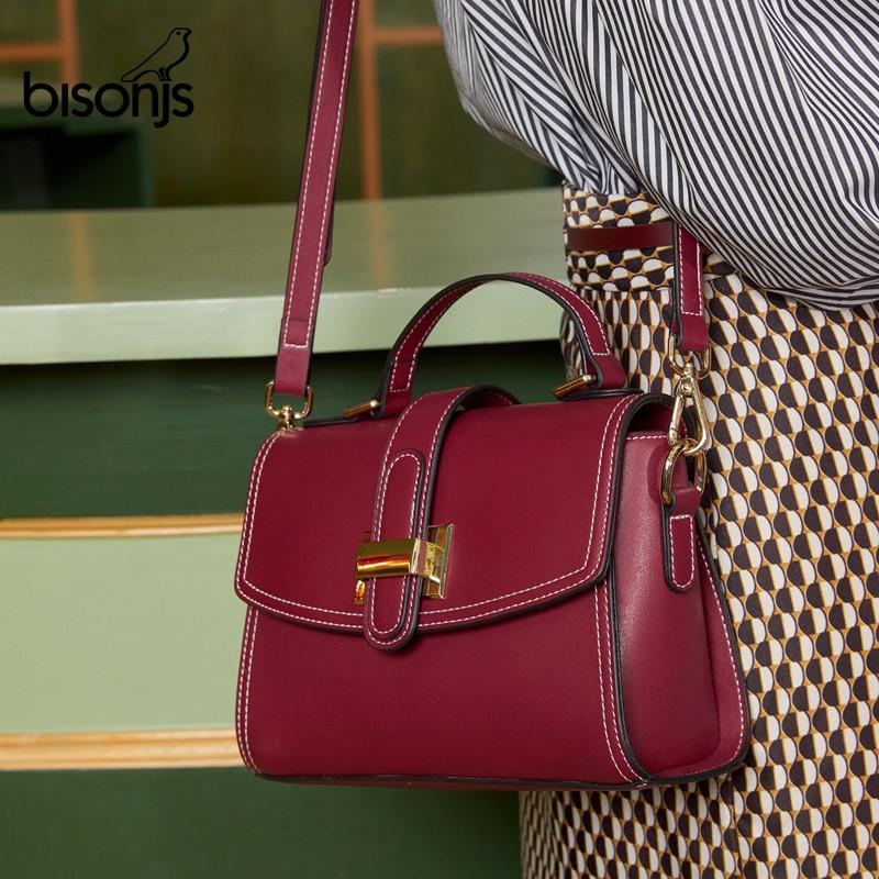BISONJS Fashion Women Shoulder Bags Cow Leather Vintage Handbag Lady Crossbody Bag Messenger Bag For Girls Bolsa B1815