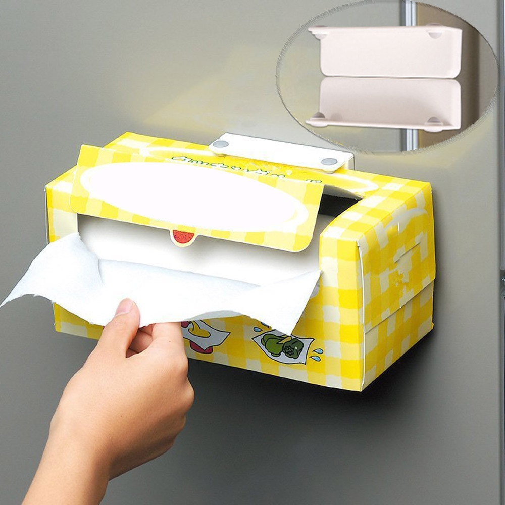 Tissue Box Creative Magnetic Toilet Paper Holder Adjustable Towel Tissue Roll Rack Stand For Kitchen Plastic