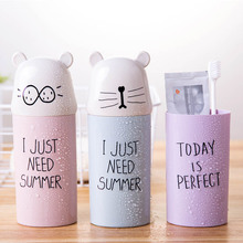 1 PC Potable Plastic Toothbrush Holder Cartoon Travel Necessary Toothpaste Storage Cup Bathroom Accessories Set Water Bottle