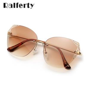 Ralferty 2020 Luxury Sunglasess Women Rimless Crystal Anti UV Brown Gradient Female Sunglasses lunette soleil femme W192298(China)