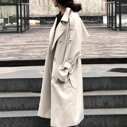 2019 Temperament Loose BF Leisure Chic Women   Trench   Coat Double Breasted Solid White Color Elegant Office Lady Casual Coats