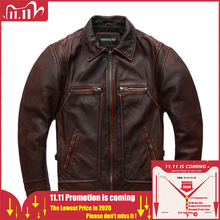 MAPLESTEED Brand Men Leather Jacket Black Red Brown 100% Cowhide Vintage Jackets Men Winter Coat Long Sleeve 62 68cm M 5XL M100