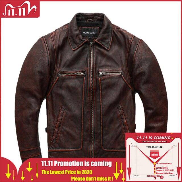 MAPLESTEED marka Amekaji silnika w motocyklowym stylu mężczyzn skórzana kurtka czarny czerwony brązowy skóry wołowej kurtki Vintage mężczyźni płaszcz zimowy 5XL M100