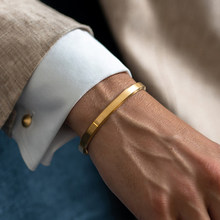 Personnalisé or nom bracelet manchette bracelets hommes femmes couples bracelet personnalisé en acier inoxydable or gravure nom bracelet bijoux