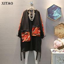 XITAO осенне-зимняя женская одежда, корейский стиль, женское платье с карманами на молнии размера плюс, женские платья, модный тренд, уличная одежда XJ2350