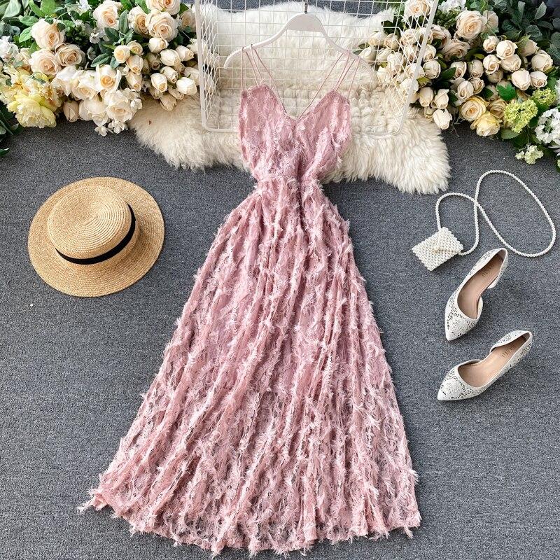 2020 Summer New Women's Strap V Collar Tassels Back Less Gauze Waist A-line Lace Dress Female Sling Elegant Mesh Fairy Dresses