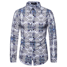New Fashion Mens Luxury Casual Shirt Printed Floral Long-sleeved Button