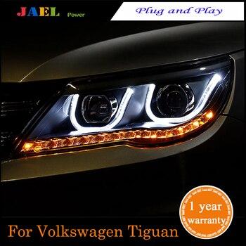 JAEL New LED Headlight For Tiguan 2010-2012 Headlights LED DRL Running lights Bi-Xenon Beam Fog Light High Quality