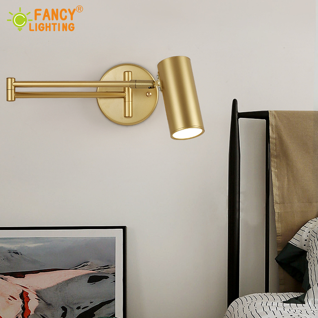 (E27 Bulb For Free) Led wall lamp Golden wall light fixture Adjustable Angle/ Length wall sconce bedroom/bathroom/mirror lamp