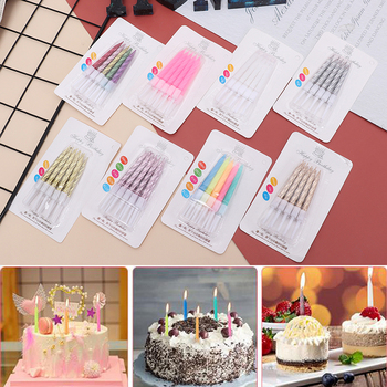 10pcs Thread Color Birthday Candles With Stand Cake Candle Event Party Supplies Wedding Party Decoration 6pc lot golden candle for wedding cake decoration pencil cake candle birthday party decoration kids adult party supplies