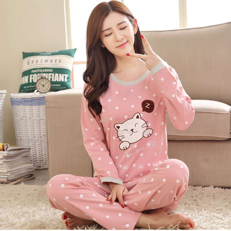 Women Cartoon Print Long Sleeves O-Neck Autumn Winter   Pajama     Sets   Cartoon Loose Round Neck Sleepwear Full Length Underwear