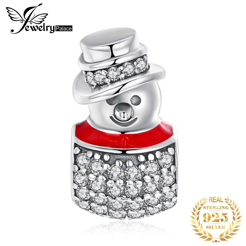 JewelryPalace คริสต์มาสของขวัญสีแดงเคลือบ 925 เงินสเตอร์ลิง Cubic Zirconia Snowman Charm BEAD Fit สร้อยข้อมือสำหรับสตรีร้อนขาย