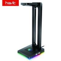 Supporto per cuffie Havit RGB con AUX da 3.5mm e 2 porte USB supporto per cuffie per giocatori accessori per PC da gioco scrivania in bianco e nero