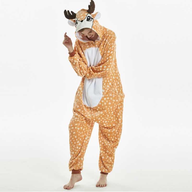 Kigurumi cerf à capuche onesie hommes femmes onsies combinaison pyjama adulte flanelle entière chaude une pièce pyjamas animaux kugurumi onsie