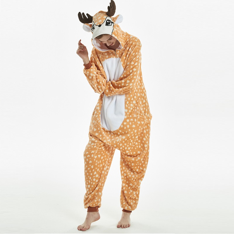 Kigurumi Deer Hooded Onesie Men Women Onisie Combinaison Pyjama Adult Whole Flannel Warm Onepiece Animal Pajamas Kugurumi Onsie