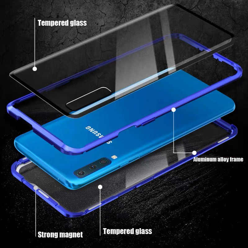 แม่เหล็กคู่สำหรับ Samsung Galaxy A50 A70 Note10 Pro 8 9 S8 PLUS S9 A7 A8 a9 M20 M10 โลหะเต็มรูปแบบ