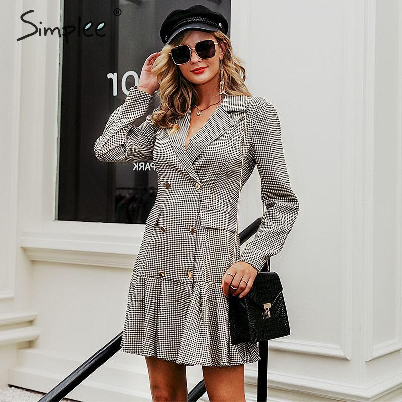 Simplee Vintage Plaid Women Office Dress Autumn Double Breasted Blazer Pleated Dress Long Sleeve Female Party Dress Outerwear