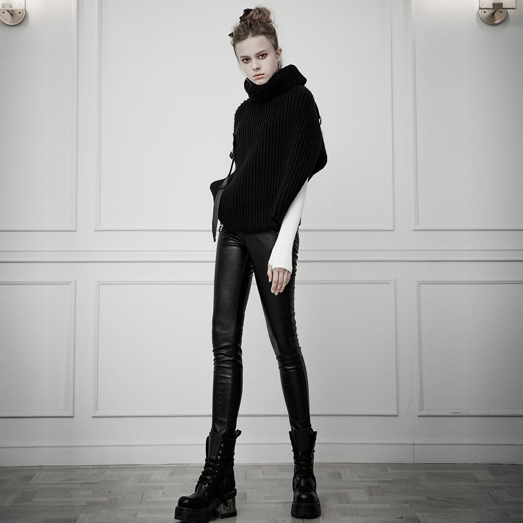 Панковские рейв женские в стиле панк с ушками контрастного цвета с поясом из искусственной кожи брюки облегающие эластичные женские обтяги... - 4