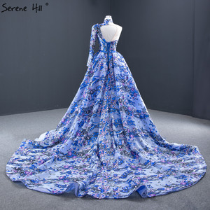 Image 2 - ブルーワンショルダーのセクシーなマーメイドイブニングドレス 2020 ハンドメイド刺繍の花フォーマルドレス穏やかな丘 HM67028
