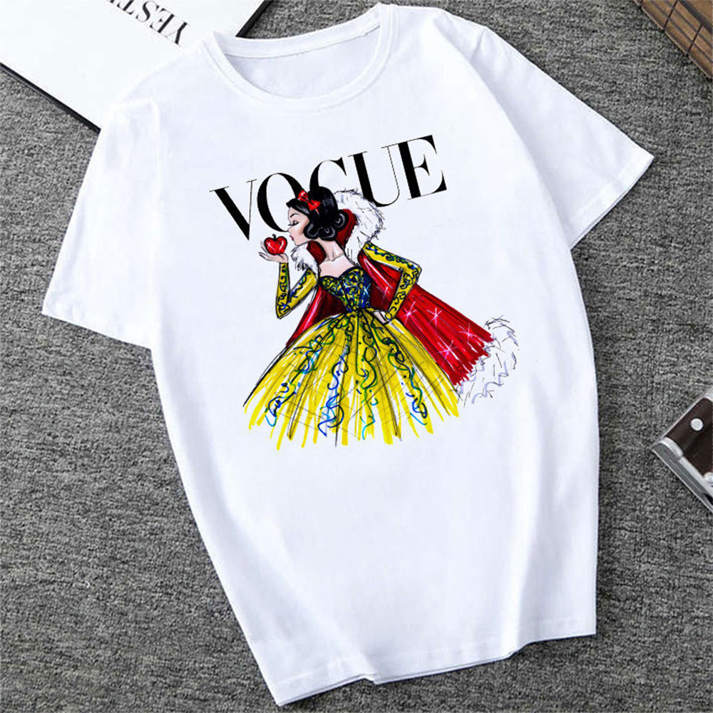 Mujer New  Vogue Princess Snow White T Shirt Women Harajuku Cartoon Print Tshirt Casual Top Tee Short Sleeve