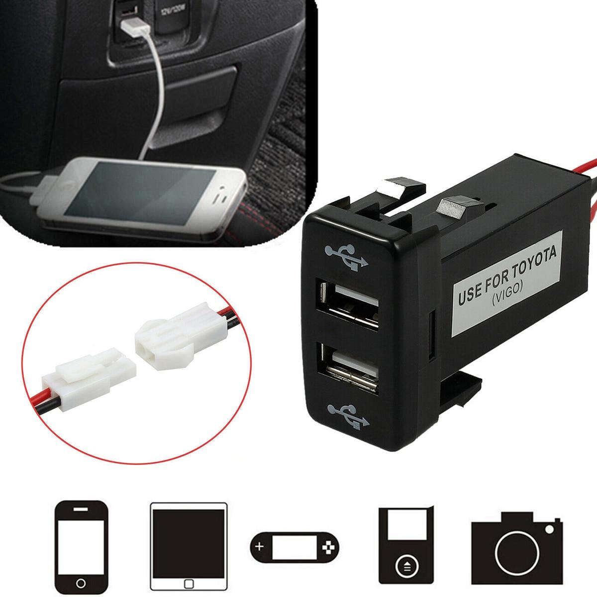 12V Dual USB Port Auto USB Ladegerät 2 Port Ladegerät Stecker Adapter Für Toyota Für Die Meisten Handy Tablet DVR Max Strom Von 4.2A