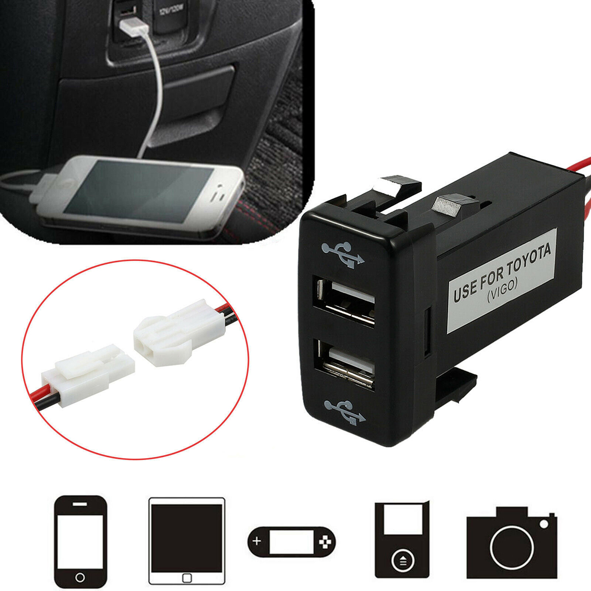 12V Dual USB Port Car USB Charger 2 Port Charger Plug Adapter For Toyota For Most Mobile Phone Tablet DVR Max Current Of 4.2A