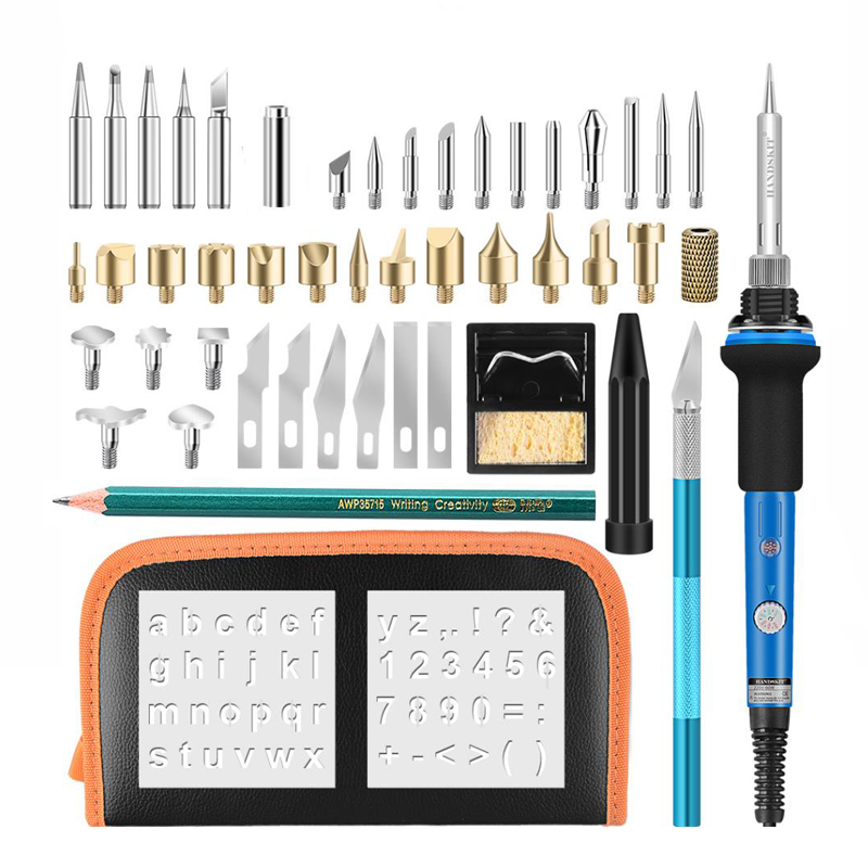 40Pcs Wood Burning Pen Set 110V/220V60W Adjutable Electric Soldering Iron Woodburning Solder Pen Digital Soldering Iron Tool Kit