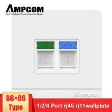 AMPCOM – panneau de prise d'ordinateur de Type 86, Module réseau, RJ11, câble RJ45, Interface de sortie, équipement électrique