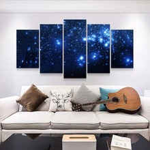 Canvas paintings 5 pieces combined Living room Background wall art Home decor Blue Star Poster Big Size stranger things poster