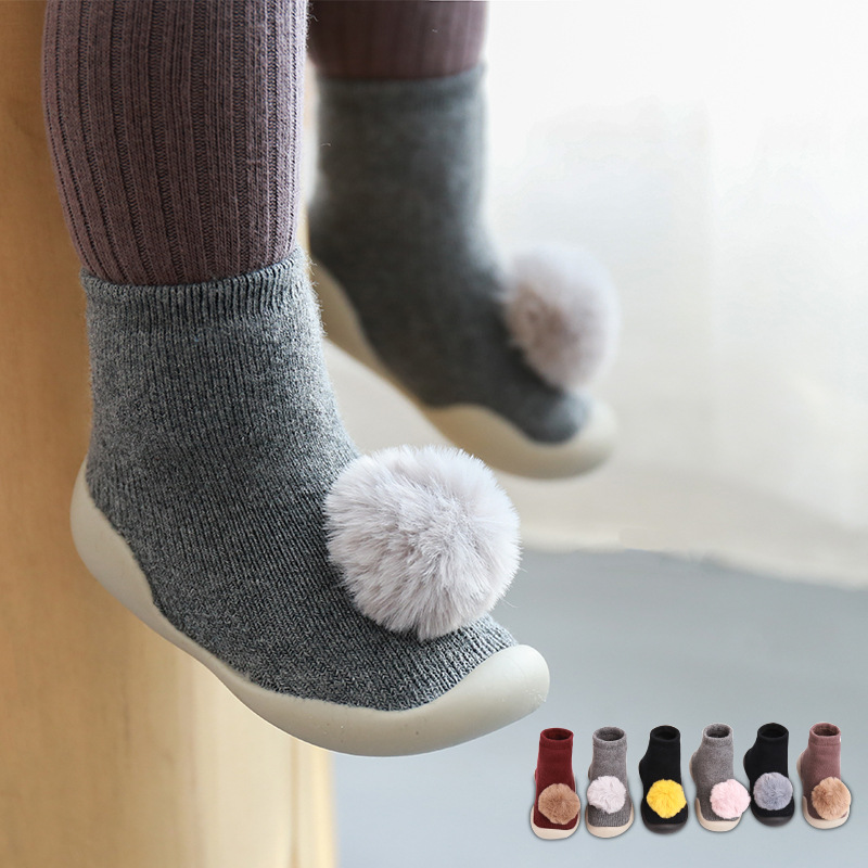 2019 New baby shoes baby ball floor shoes Cute children's floor socks Non-slip rubber bottom baby toddler shoes baby booties