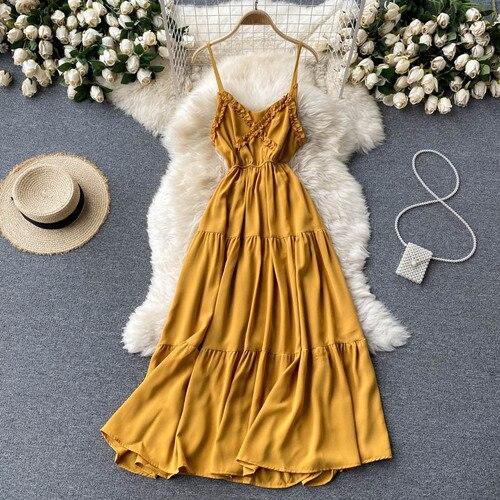 Summer Women Beach Chiffon Sling Long Dress Lady V-neck Auricularia Auricula Edge Dresses Backless Bow Tie A-line Dress