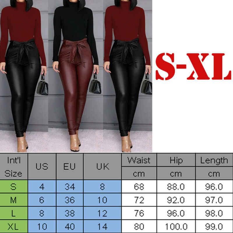 אופנה מזדמן מוצק נשים של עור מפוצל מכנסיים סקסי נמתח סקיני עיפרון מכנסיים גבוהה מותן Slim תחרה עד Bottoms