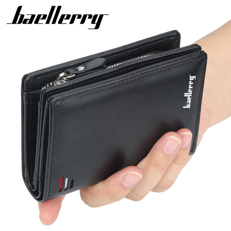 Baellerry Luxury Brand Men PU Leather Wallet With Zipper Coin Pocket Vintage Big Capacity Male Short Money Purse Card Holder