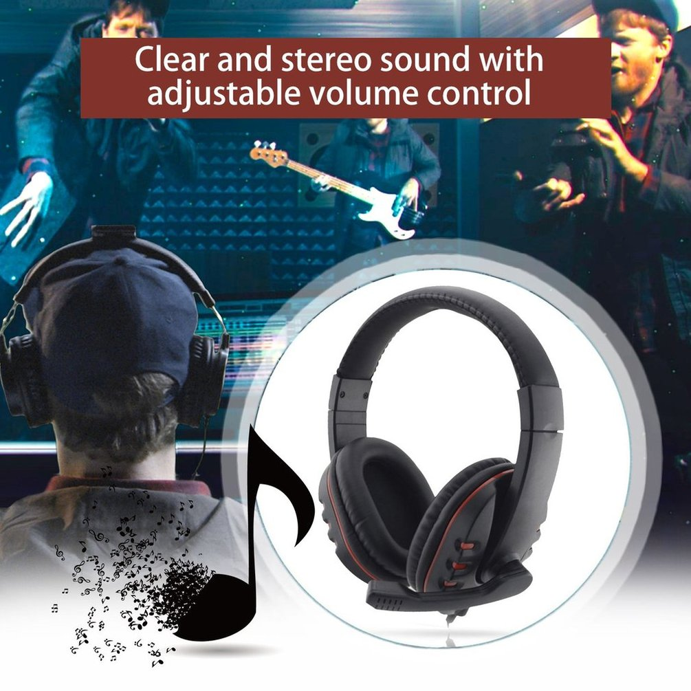 Headphones 3.5mm Wired  Gaming Headset Earphones Music Microphone For PS4 Play Station 4 Game PC Chat computer With Microphone 1