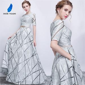 Image 5 - DEERVEADO YS406 긴 댄스 파티 드레스 정장 드레스와 짧은 소매 댄스 파티 드레스 여성 이브닝 드레스