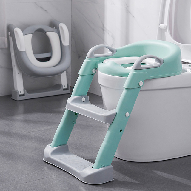 Folding Infant Potty Seat Urinal Backrest Training Chair with Step Stool Ladder for Baby Toddlers Boys Girls Safe Toilet Potties 1