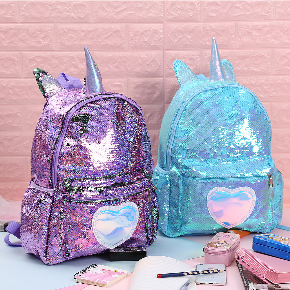 Sequins Unicorn School Bags For Girls Backpack Cute Kids School Bag Large Capacity Children Backpacks Sac Enfant Mochila Escolar