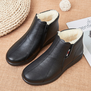 Winter Warm Shoes For Woman Black Short Boot With Fur Womens Leather Ankle Boots Women Snow Boots Waterproof Ladies Zip Up Boots frye womens diana stud short boot