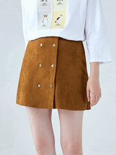 цена на SEMIR Skirt female autumn imitation suede 2019 A skirt thin double-breasted studentA lined ins super skirt solid fashion skirts