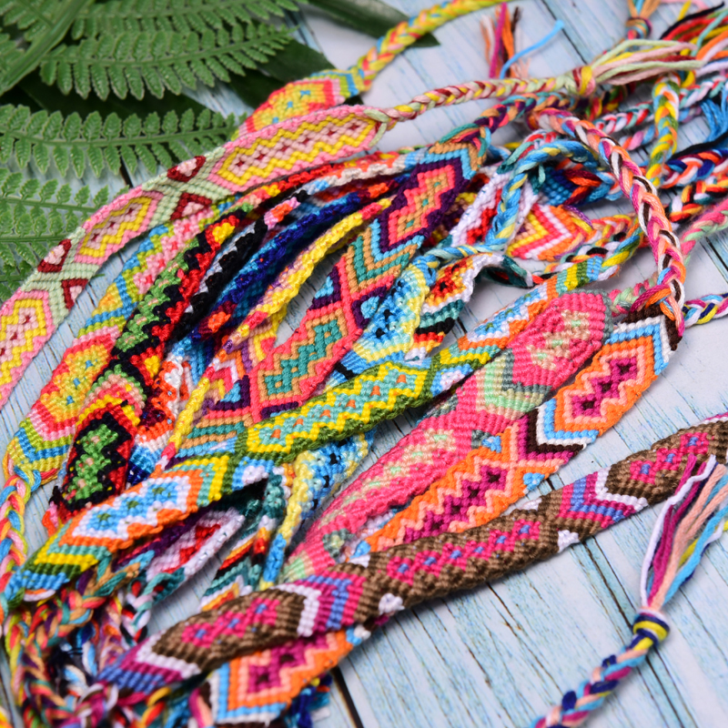 MOON GIRL 15 Pieces Woven Friendship Bracelets Braided Fashion Trendy Surf Beach Chic Boho Girl Pulseras Femme Dropshipping