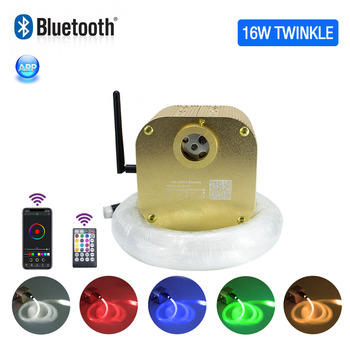 16W Twinkle Fiber Optic Starry Ceiling lighting kits Bluetooth APP Smart Music Control for Car roof star kid Room Ceiling Light 16w light engine 0 75 1 1 5mm fiber optic star ceiling light for andre baccili benevides